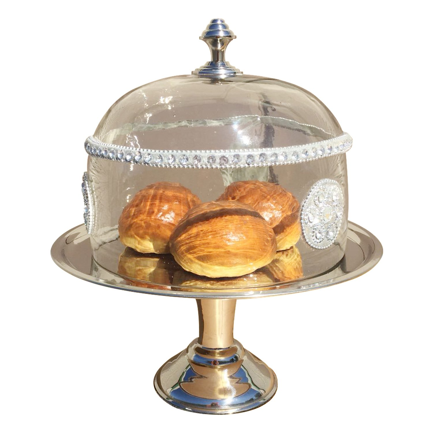 GiftBay Wedding Cake Stand Round Pedestal Stainless Steel 10'' Diameter on Top, about 5'' Height (Stand)