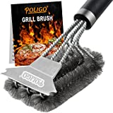 """POLIGO Safe Grill Brush and Scraper with Deluxe Handle - 18"""" Grill Cleaner Brush Stainless Steel Bristle Grill Brush for Outd"""