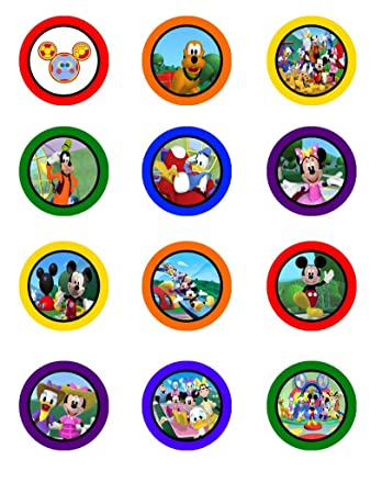 Mickey Mouse Clubhouse Edible Cupcake Toppers Birthday Party
