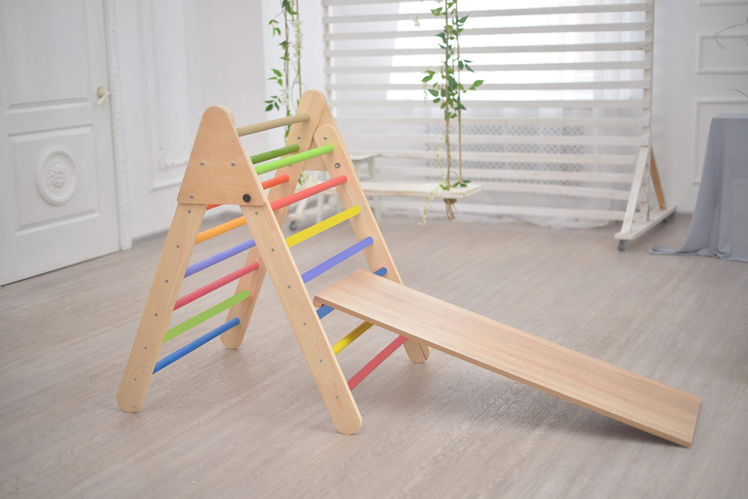 Smart Kids Wooden Little Climber with Slide - Foldable Pikler Triangle - Montessori Ramp - Montessori Triangle - Climbing Gym - Toddler Climber (Painted)
