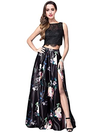 91cf117d21c JoJoBridal Women's Floral Print Two Piece Evening Prom Dresses Slit Black  Size 2