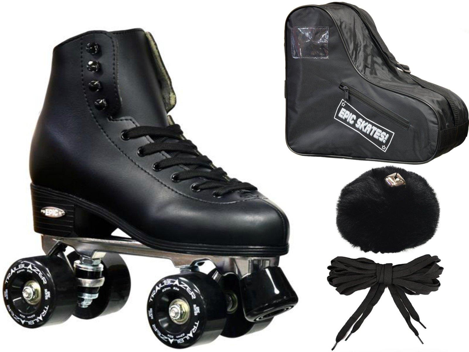 New! Epic Classic Solid Black High-Top Quad Roller Skate Bundle w/ Bag, Laces, & Pom Poms! (Mens 11)