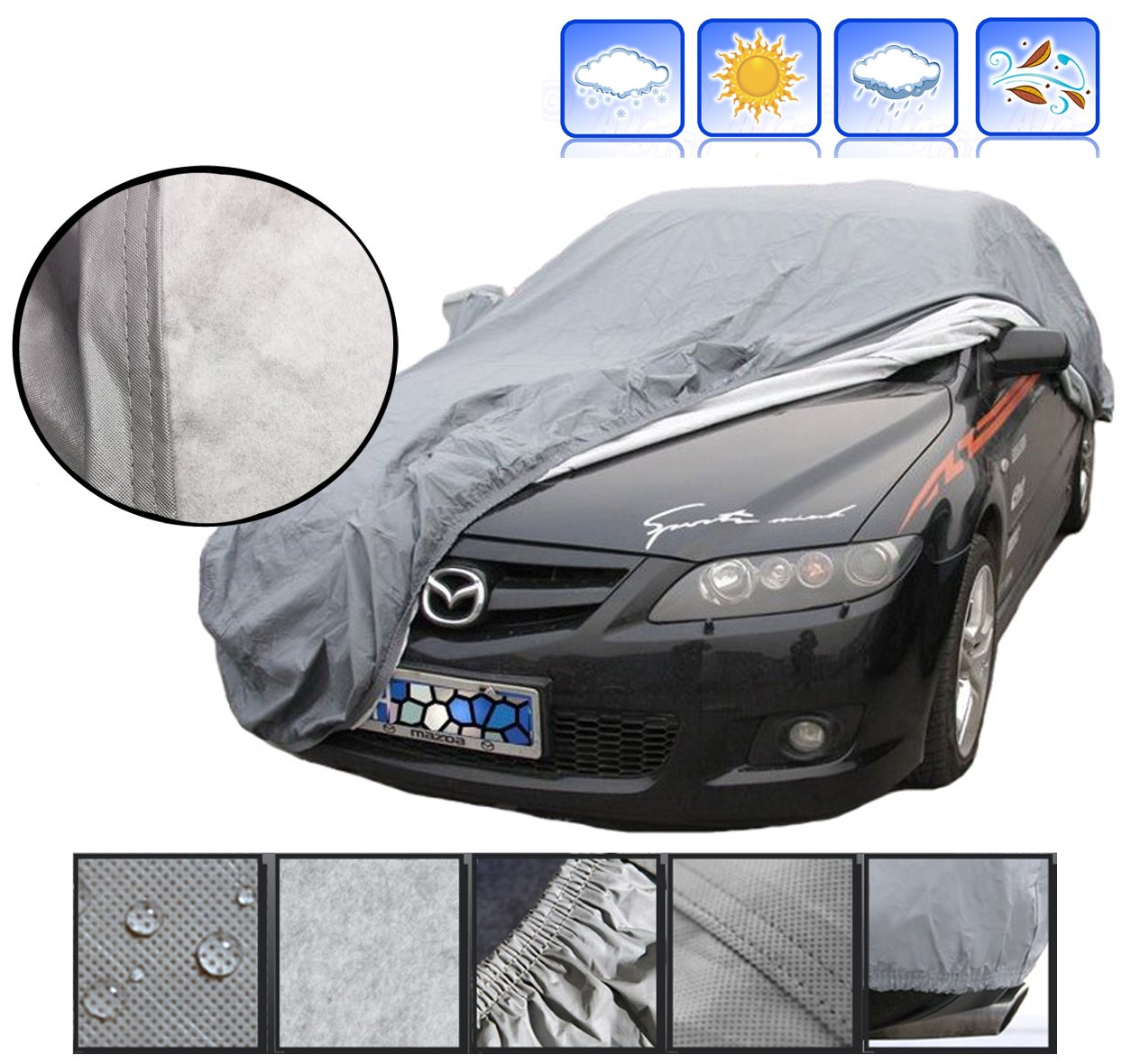 A-Express/® Medium M Heavy Duty 100/% Waterproof Breathable Full Car Cover