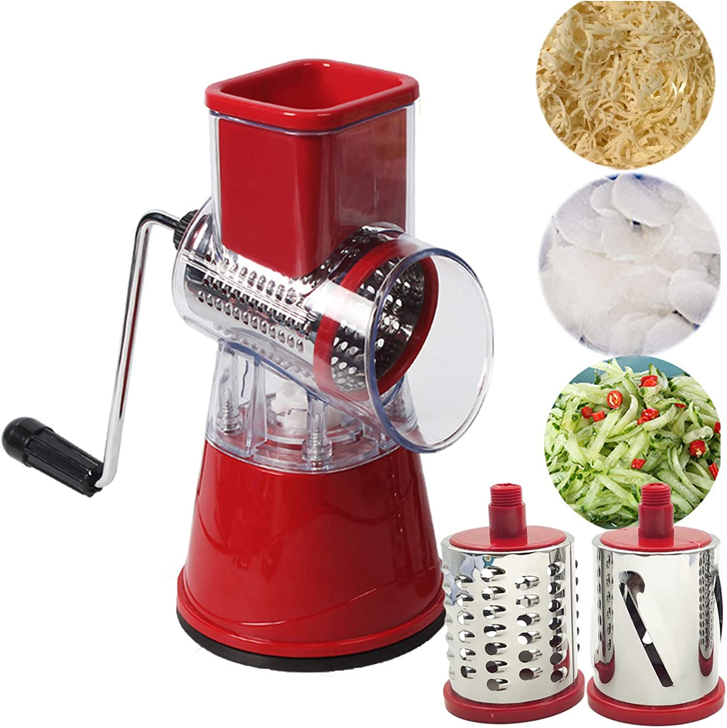 Cheng Round Vegetable Mandoline Slicer with Metal Crank, Manual Rotary Cheese Grater Shredder,Nut Grinder,3 Interchangeable Stainless Steel Blades (red)