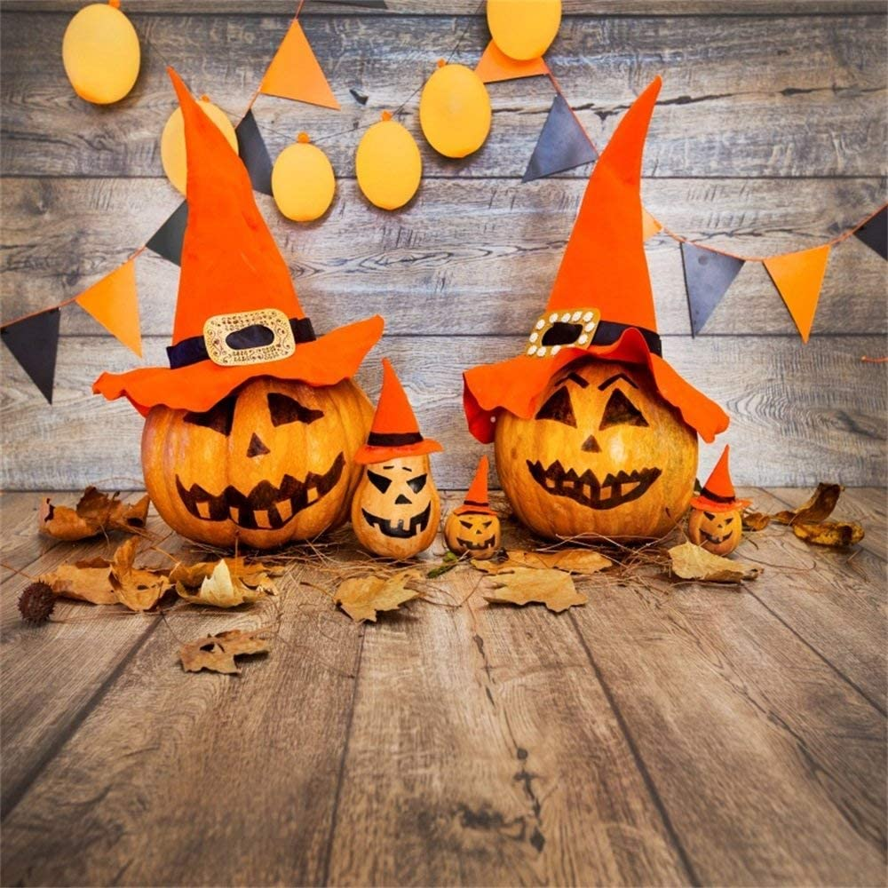 CdHBH Halloween Party Backdrop 10x10ft Vinyl Photography Background Grinning Whistled Pumpkin Lamps Red and Yellow Buntings Wooden Floor Trick Or Treat Party Horror Night Kids Baby Shoot Poster