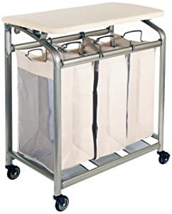 Seville Classics Mobile 3-Bag Heavy-Duty Laundry Hamper Sorter Cart/w Folding Table