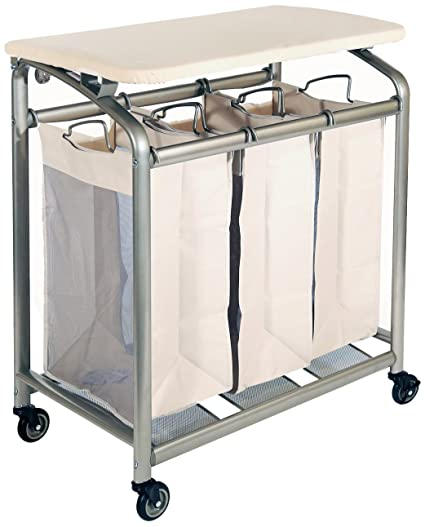 Seville Classics Mobile 3 Bag Heavy Duty Laundry Hamper Sorter Cart/w  Folding