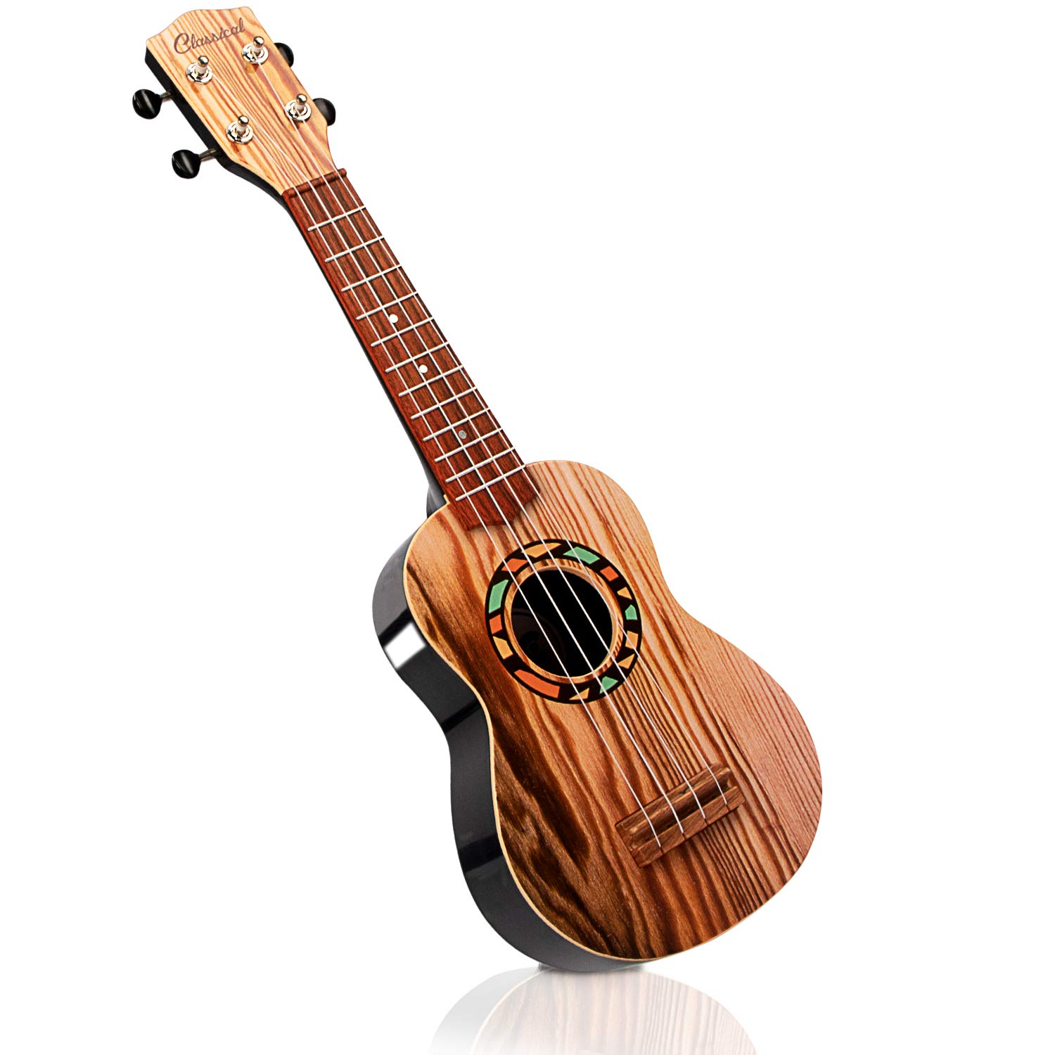 SAOCOOL Child Guitar, 21 inch Kids Ukulele Guitar Kid's Guitar Toy, 4 String Toy Guitar The Best Childrens Guitar Gift for Girls and Boys (Wood Color)