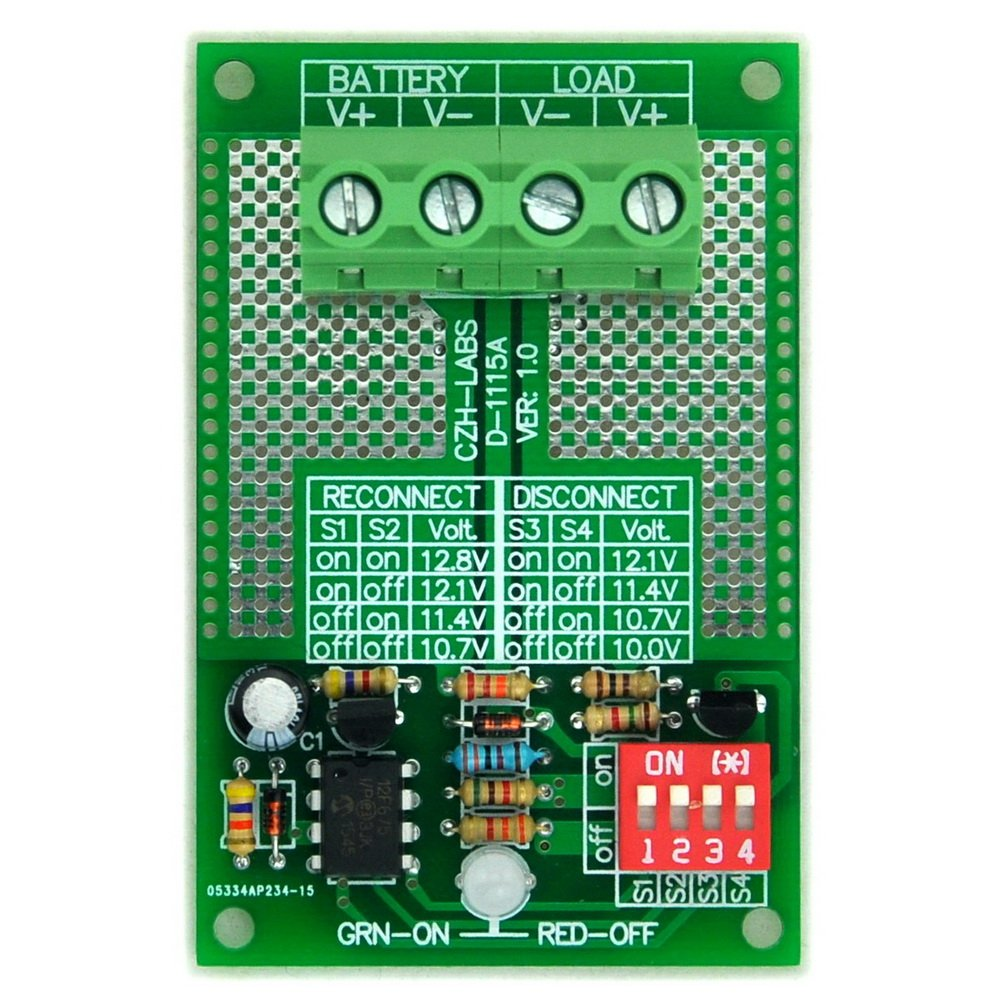 Electronics-Salon Low Voltage Disconnect Modul LVD, 12 V 30 AMP, basierend auf MCU und Mosfet.