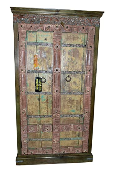 Beau Antique Hand Carved Furniture Distressed Reclaimed Cabinet Indian Armoire