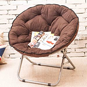 Chairs Single Moon Lazy Radar Lunch Break Folding Recliner Sun Home Decoration (Color : Brown)