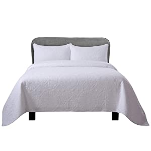 Soul & Lane Inner Circle 100% Cotton White 2-Piece Quilt Set with Stitching (Twin) | with 1 Sham Pre-Washed Machine Washable Medium Weight Bedspread Coverlet