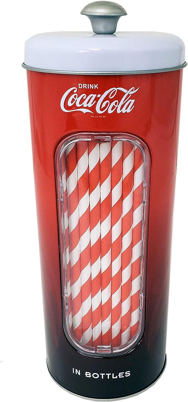 The Tin Box Company Coke 50 Coca Cola Holder Tin with 20 Paper Straws, Red