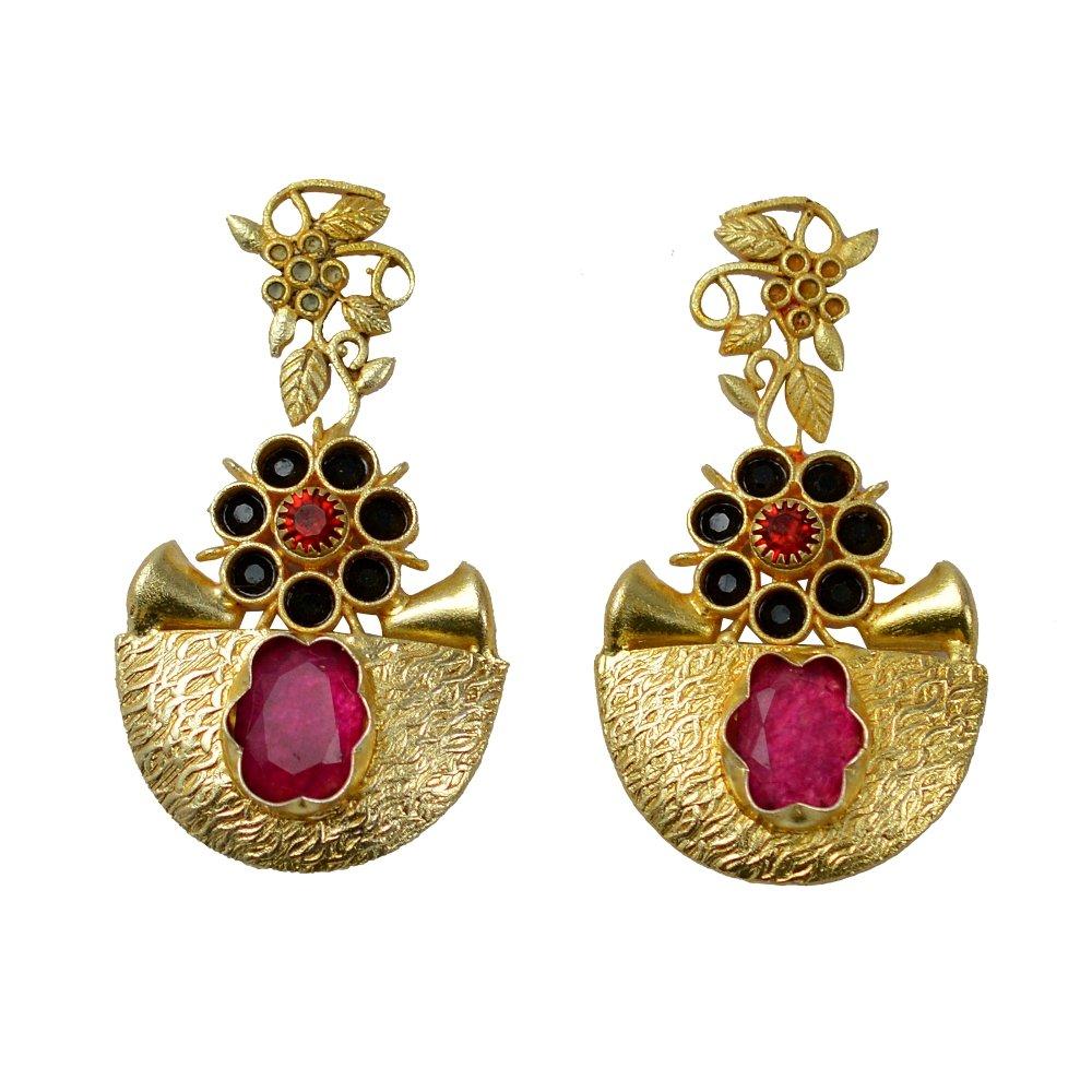 eurasia Handmade Ruby Black Onyx Red Zircon Gemstone Gold Plated Earrings