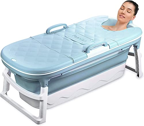 54 inches Large Portable Foldable Bathtub Soak 3-Stage Tub