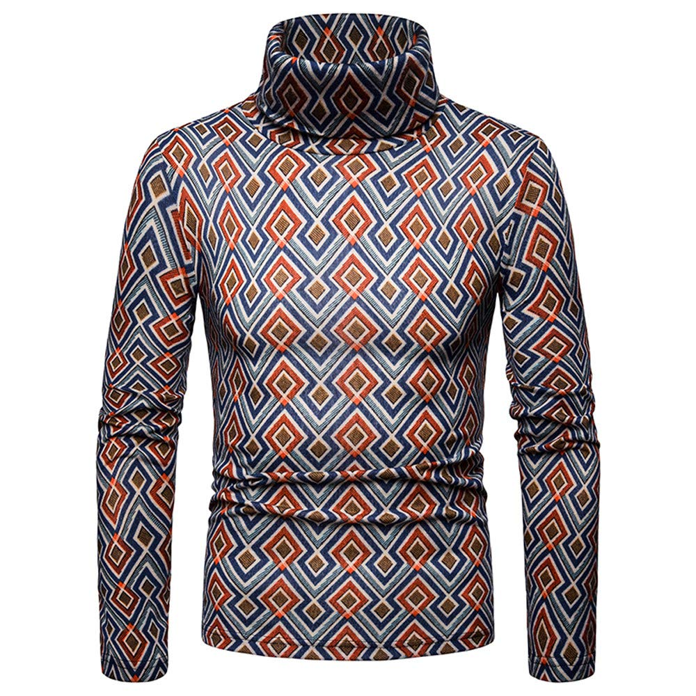 e67d976d ... Easytoy Mens Mock Turtleneck Shirt Men T Shirt Sweatshirts Sweater  Pullover Slim Fit Leopard Print Long