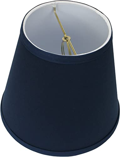 FenchelShades.com Lampshade 5 Top by 8 Bottom by 7 Slant Height with Brass Bulb-Clip-On Attachment Navy Blue