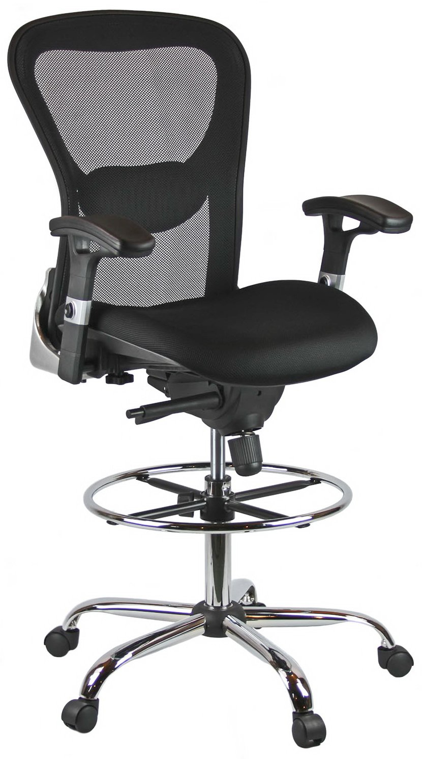 Harwick Deluxe Mesh Drafting Stool with Arms Black