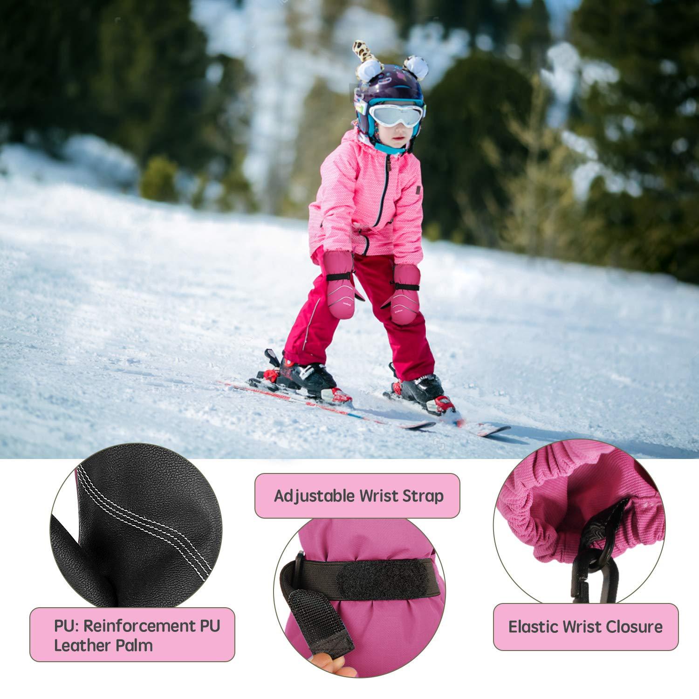 Unigear Kids Ski Mittens Waterproof Winter Snow Thinsulate Mittens with String for Boys Girls
