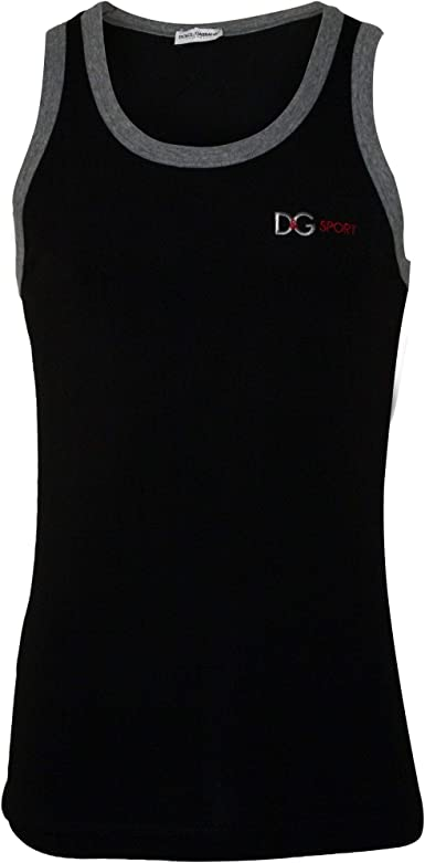 Dolce /& Gabbana D/&G Sport Men/'s Gym Vest Black with grey piping