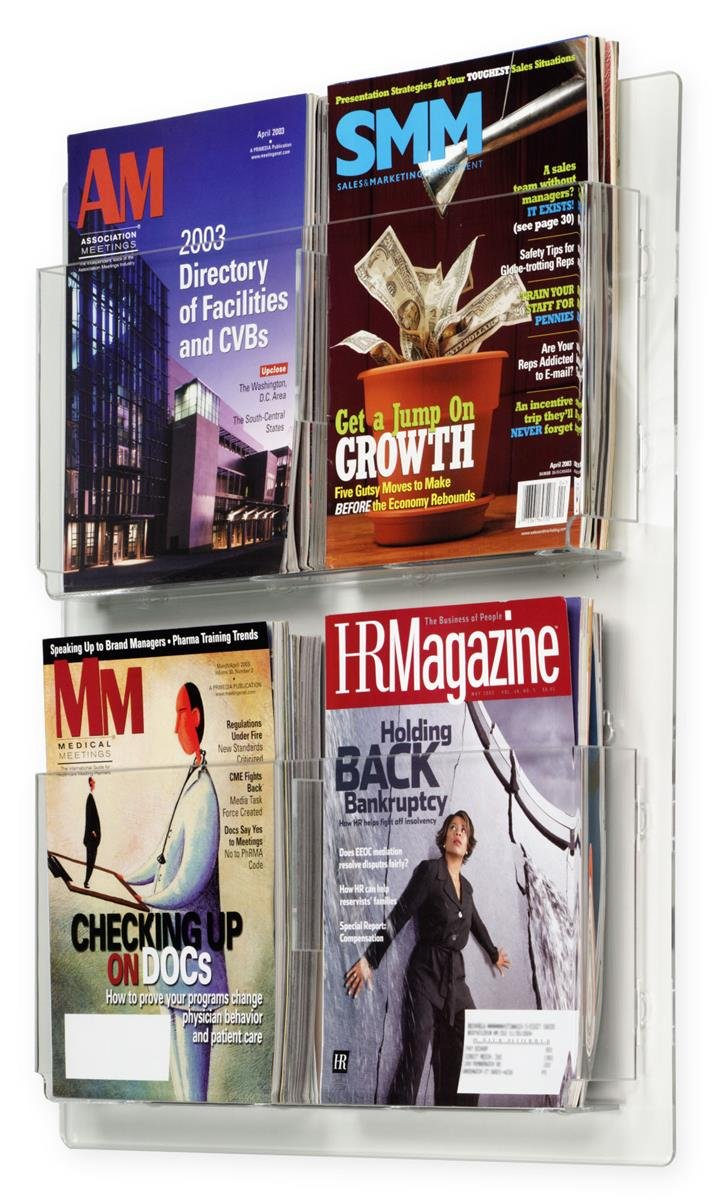 Displays2go Hanging Magazine Racks, Wall Mounting Brochure Holders, Adjustable Dividers, Clear (RP4CLR)