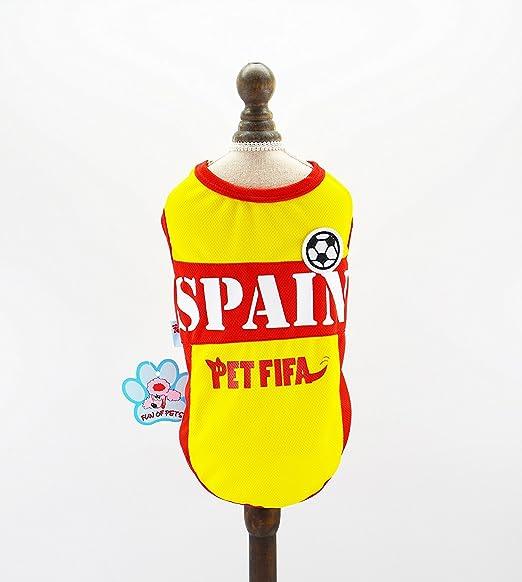 Pet Fifa España Copa del Mundo de Cachorro de Perro Camiseta de Fútbol: Amazon.es: Productos para mascotas