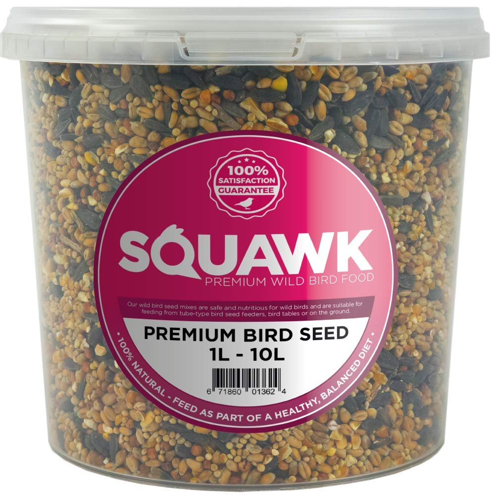 SQUAWK Premium Wild Bird Food - All Season Seed Quality Garden Feed Mix (1L Tub)