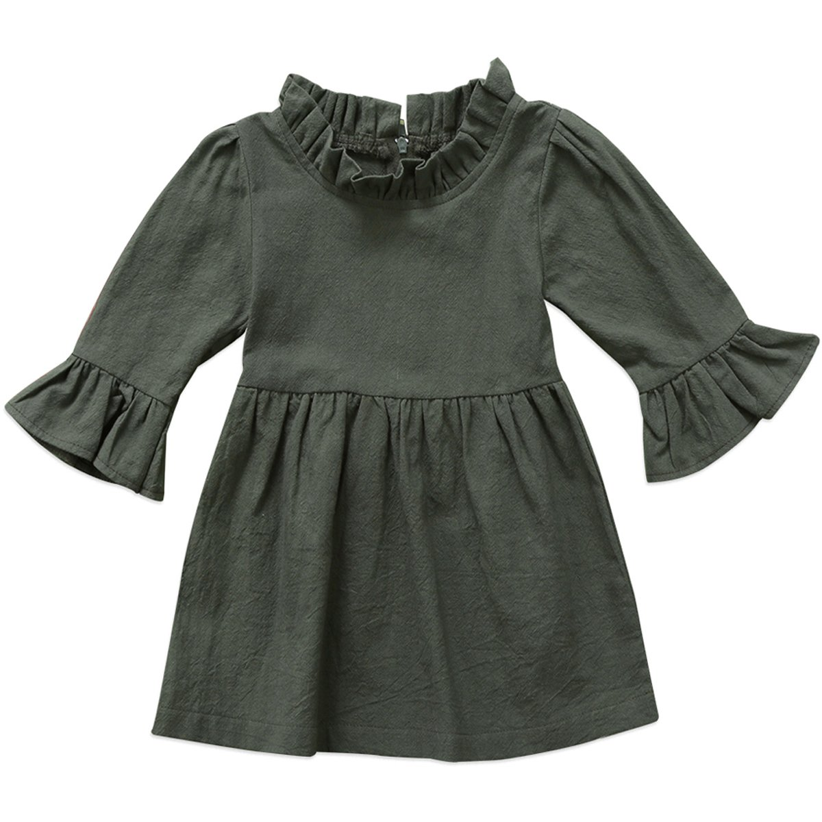 Annvivi Fall & Winter Baby Girls Dark Natural Olive Linen Ruffled Pullover Dress