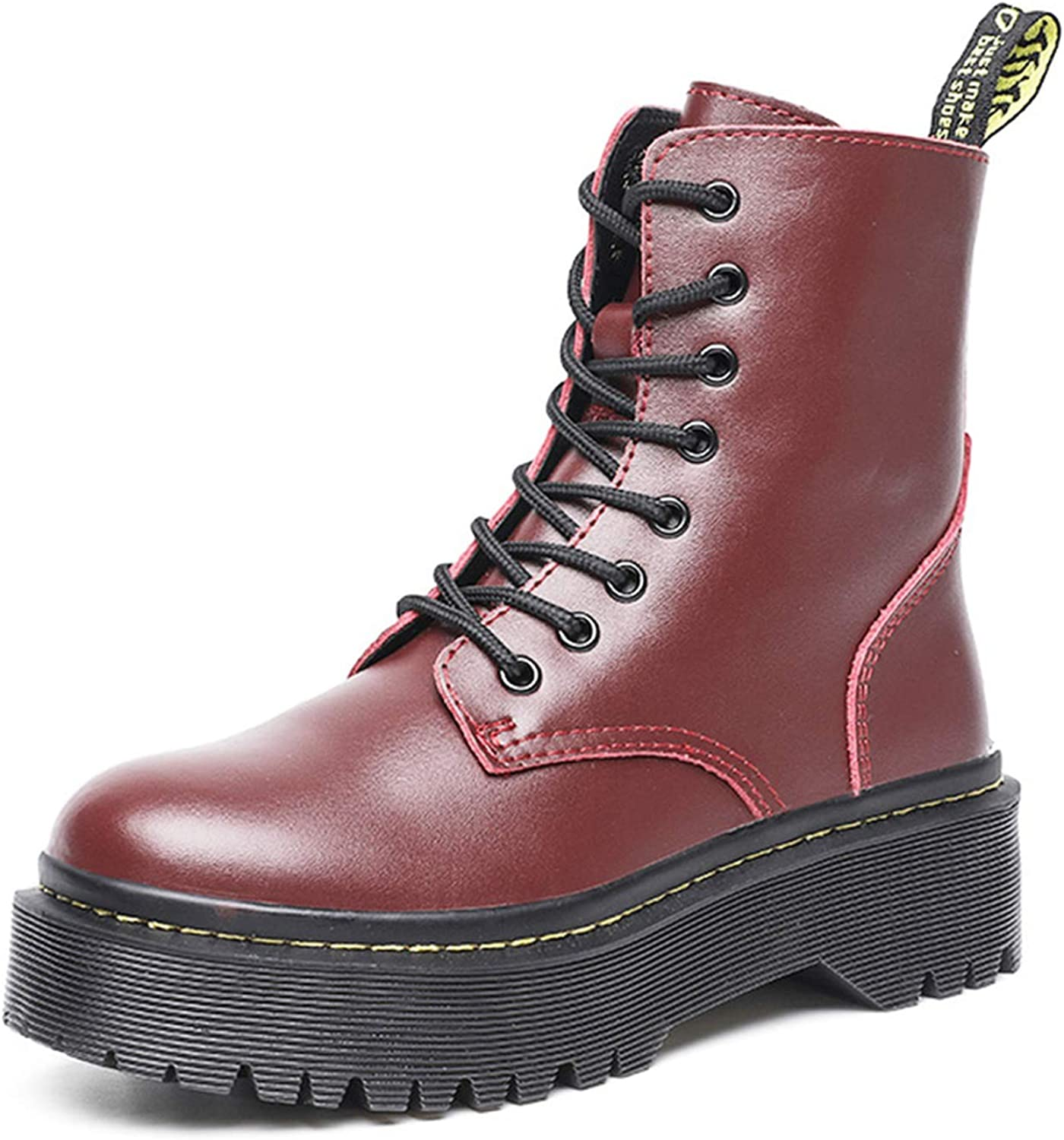 Women Boots Genuine Leather Ankle Boots with Flat Platform 01