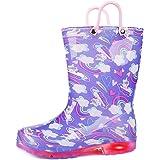 [KomForme] 長靴 女の子 歩くたびに光る 軽量 ハンドル・収納袋付き ながぐつ キッズ レインブーツ 滑り止め 完全防水 梅雨対策 通園・通学用 14.5cm~21.5cm