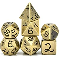 cusdie Metal Dice with Metal Box, 7 PCs DND Dice, Polyhedral Dice Set with Dragon Font, for Role Playing Game Dungeons and Dragons D&D Dice MTG Pathfinder Math Teaching