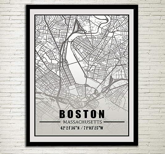 Amazon Com Boston City Map Print Boston Street Map Boston
