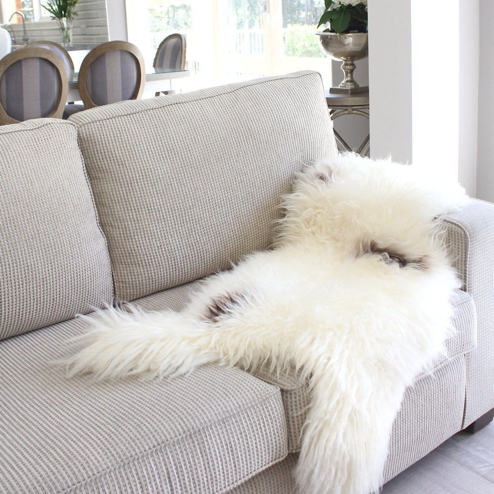 Genuine Long Hair Shaggy White Black Brown Spotted Icelandic Sheepskin Fur Hide pelt Throw Rug Over Chair Premium Quality ICELHT10010
