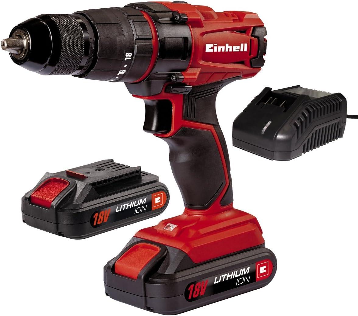 Einhell TC-CD 18-2 Li-i - Taladro de impacto sin cable, con cargador, 2 baterías 1.5 Ah, 2 velocidades, portabrocas 13 mm, 40 Nm, 18 V, color rojo y negro (ref. 4513825)