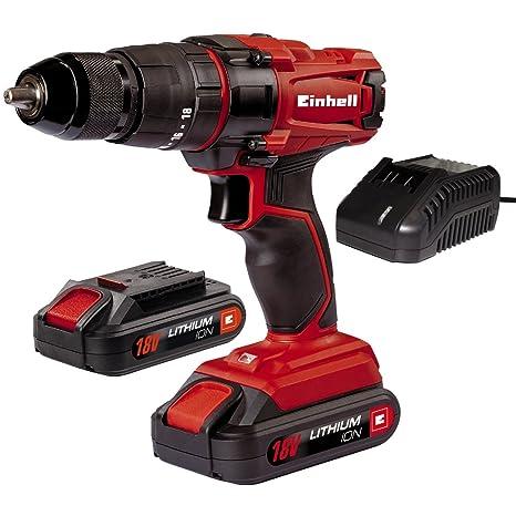 Einhell TC-CD 18-2 Li-i - Taladro de impacto sin cable, con cargador, 2 baterías 1.5 Ah, 2 velocidades, portabrocas 13 mm, 40 Nm, 18 V, color rojo y ...