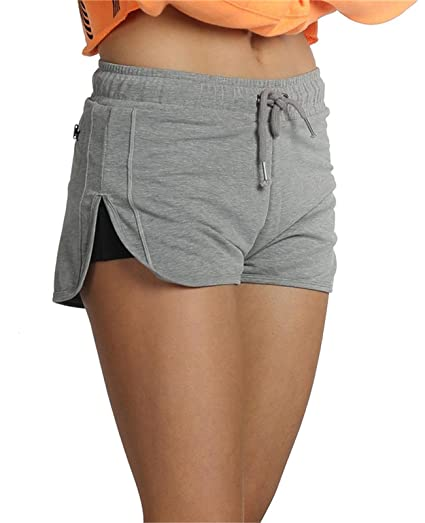 0c98c8dcd6 icyzone Yoga Shorts Activewear High Waisted Running Workout Shorts for Women  2-in-1