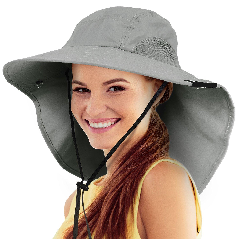 Safari Sun Hats for Women Fishing Hiking Cap with Neck Flap Wide Brim Hat Grey