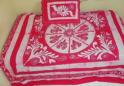 Captivating Kalaplanet Designer Pink Batik Print Double Bed Sheet