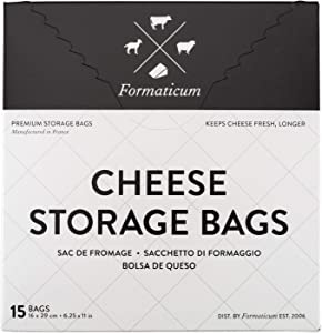 Formaticum Cheese Storage Bags, Keep Charcuterie Fresh, Wax Paper Bags, 15 Count