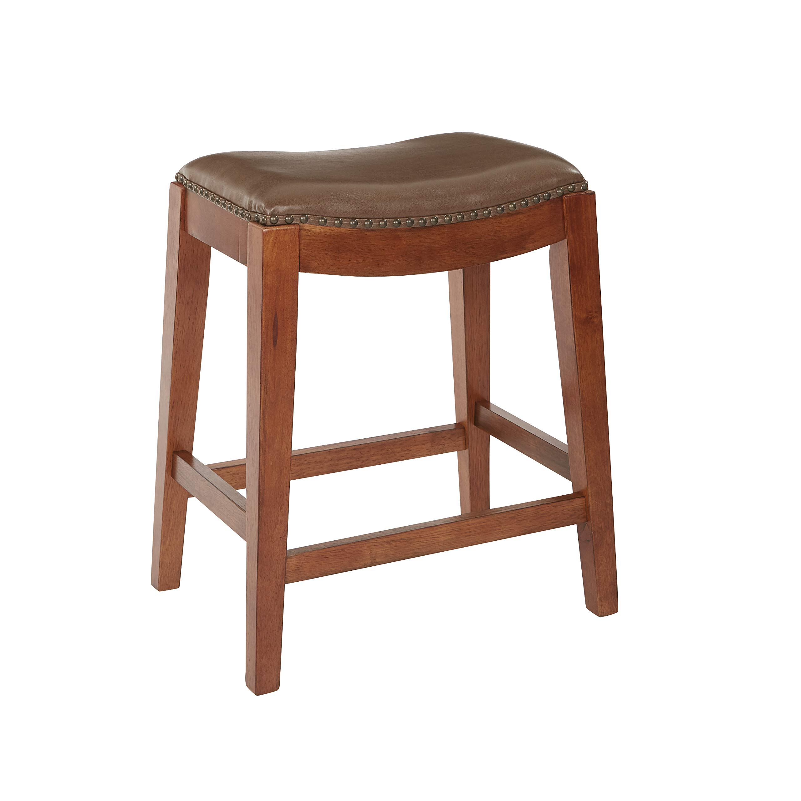 OSP Designs Metro Bonded Leather Counter-Height Saddle Stool with Nail Head Accents and Espresso Finished Legs, 24-Inch, Molasses