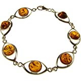 """8"""" inch/20cm baltic amber and sterling silver 925 ladies' cognac bracelet jewellery jewelry"""