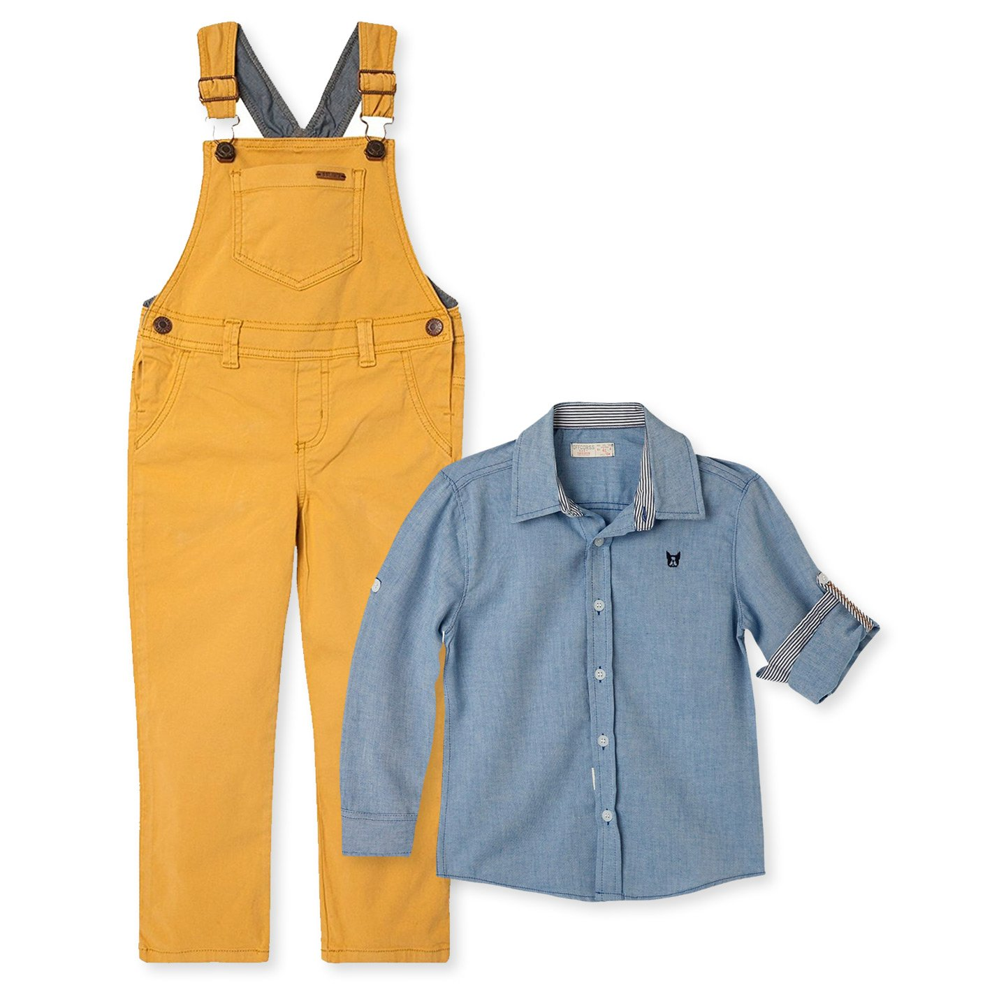 OFFCORSS Toddler Boy Kid Infant Bib Matching Brother Twin Jean Denim Cotton Cute Long Overalls Shirt Set Overol Para Niños Yellow 3T