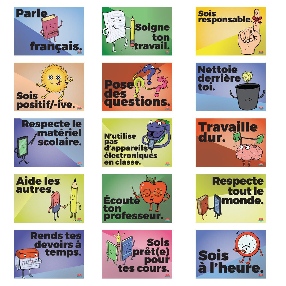 Common Sense Rules French Mini-Poster Set by Teacher's Discovery (Image #1)