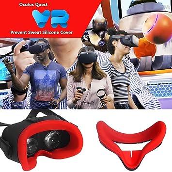 Negro Protector Facial de Silicona VR para Oculus Quest Standard VR Auricular Almohadilla Facial Pad a Prueba de Sudor Oculus Rift S Accesorios KingMaker