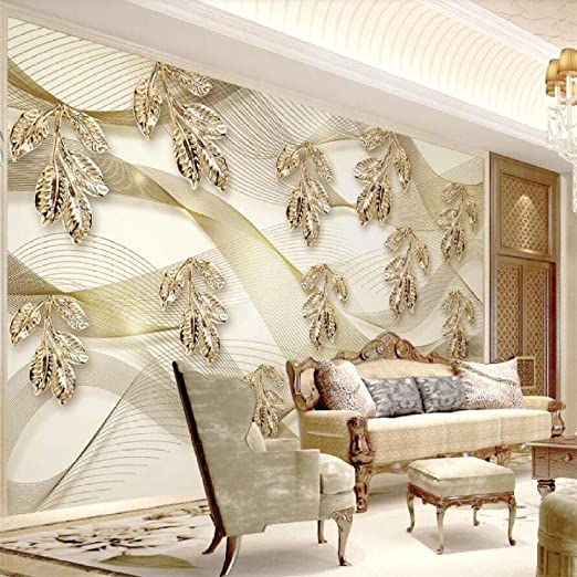 Amazon Com Xsj Wallpaper Custom 3d Photo Murals Golden Leaves Simple Lines Creative 3d Stereo Tv Background Wall Papers Home Decor 3d Wallpaper 250175cm Home Kitchen