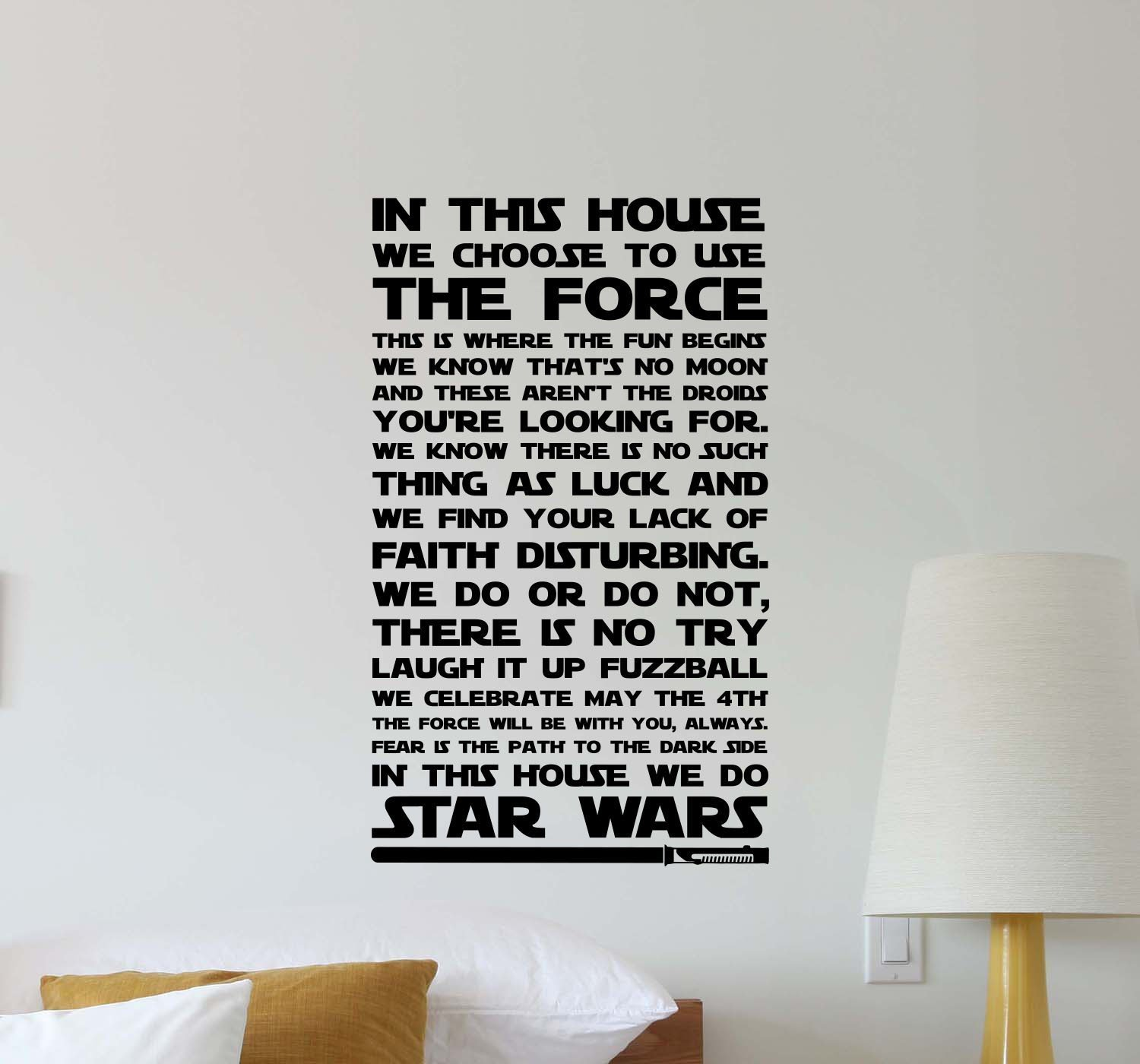 In This House We Do Star Wars Wall Decal Quote Movie Inspirational Sayings Lettering Vinyl Sticker Motivational Gift Kids Room Home Bedroom Decor Art Poster Mural Custom Print