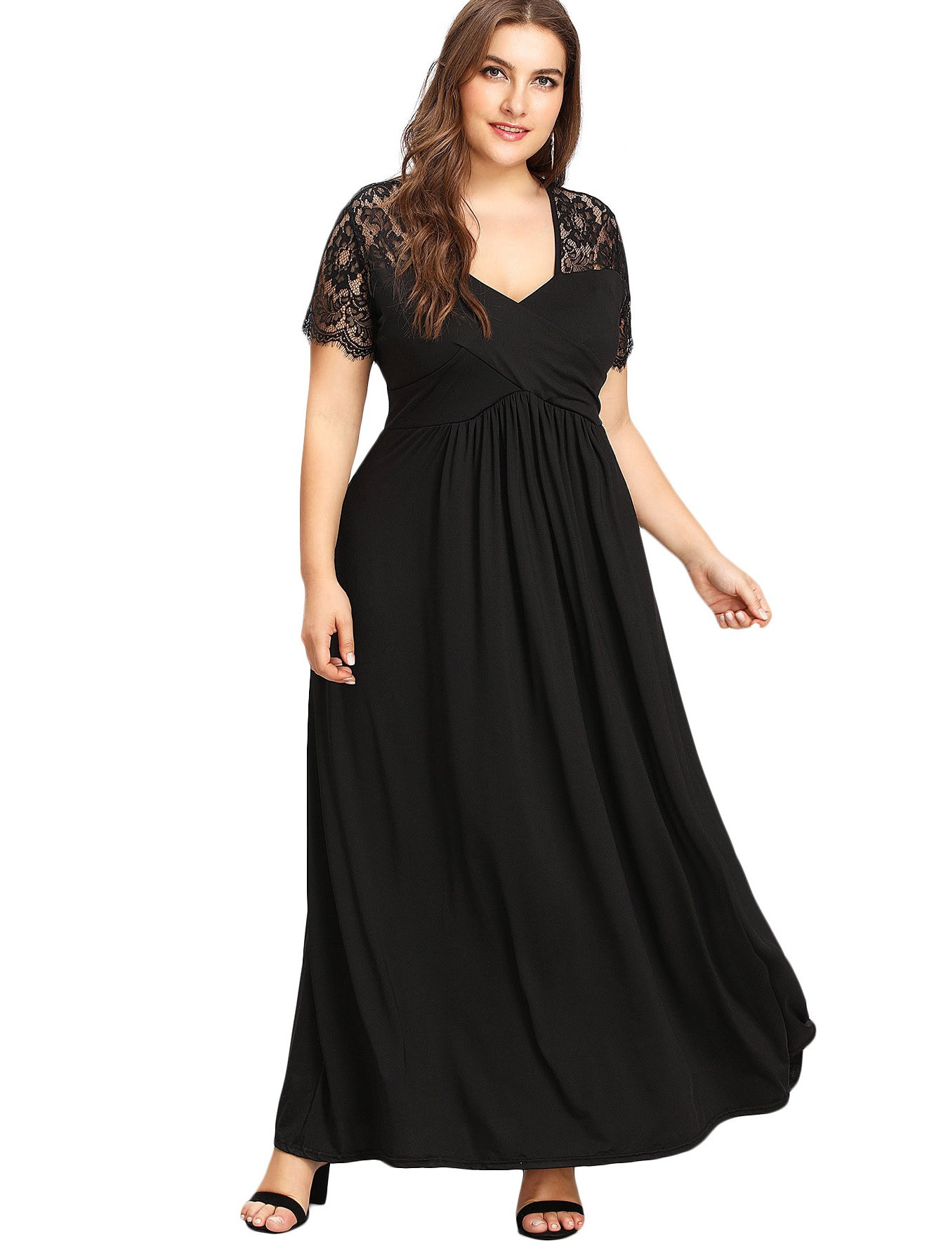 Milumia Plus Size Lace Dress,Square Neck Empire Waist Fit and Flare Flowy Short Sleeves Solid Color Ruched Maxi Dress 4XL