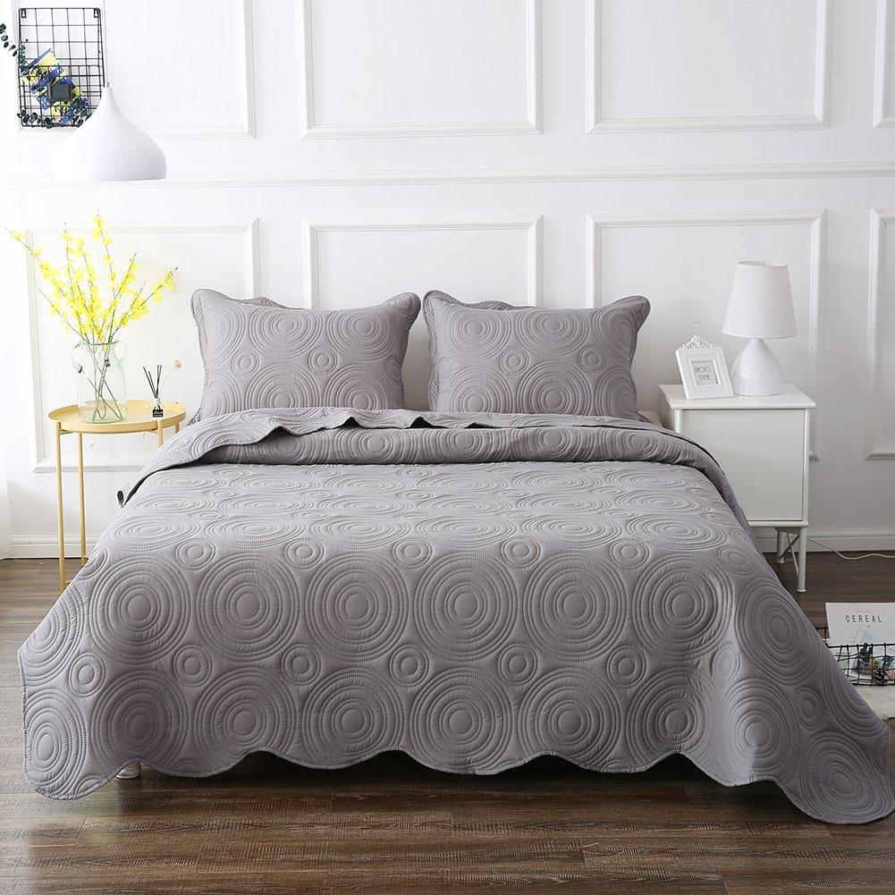 NEWLAKE Microfiber Lightweight 3 Piece Bedspread Coverlet Set,Embossed Wavelet Pattern, Queen Size by NEWLAKE (Image #2)