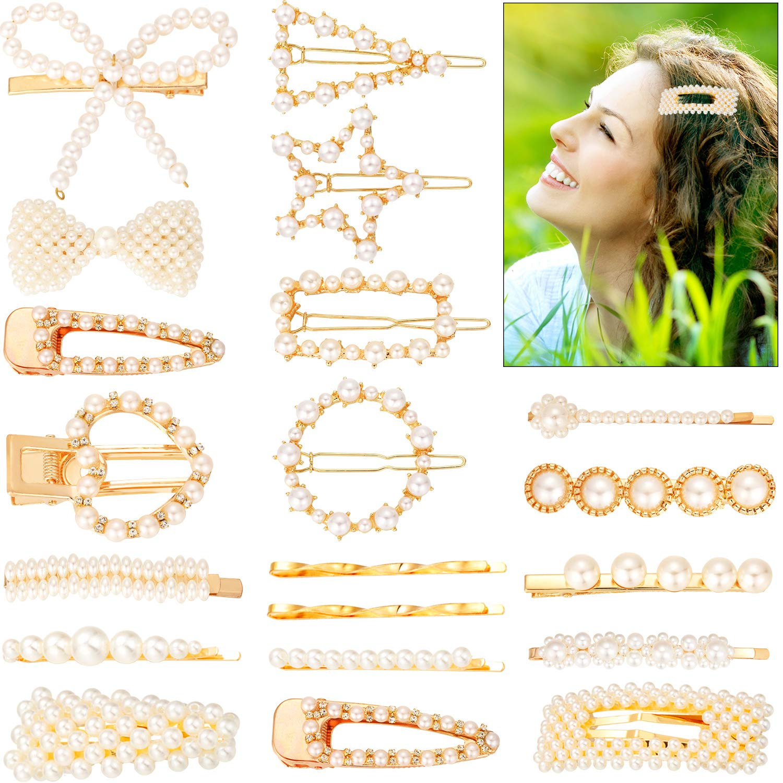 22 Pieces Hair Clips Set Artificial Pearl Hair Clip Pearl Hair Barrette Hair Pin