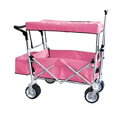 PINK JUMBO WHEEL PUSH AND PULL HANDLE FOLDING WAGON ALL PURPOSE GARDEN UTILITY BEACH SHOPPING TRAVEL CART OUTDOOR SPORT COLLAPSIBLE WITH CANOPY COVER FREE ICE COOLER BAG - EASY SETUP NO TOOL NECESSARY: Toys & Games